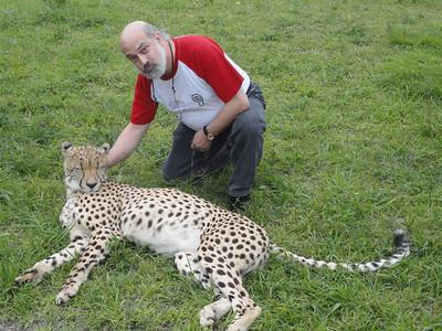 visit to the Emdoneni Cat Rehab Project--Joel with Chita the Cheetah
