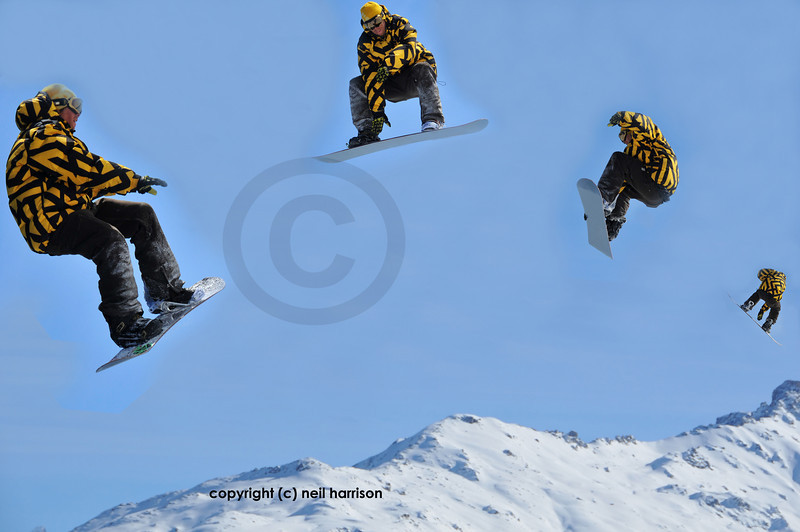 a snowboarder in a jump sequence making a full turn. these images were taken during the same jump and show a full turn by the boarder