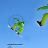 a sequence of 3 shots of a snowboarder in lime green clothing making a high jump and a full turn