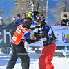 VEYSONNAZ, SWITZERLAND - JANUARY 15:  FIS World Championship Snowboard Cross finals. new world champion Pierre Vaultier, congratulates  2nd David Speiser.  January 15 in Veysonnaz, Switzerland