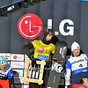 VEYSONNAZ, SWITZERLAND - JANUARY 15:  FIS World Championship Snowboard Cross finals. The winner, new world champion Pierre Vaultier, 2nd David Speiser, and 3rd Nick Baumgartner.  January 15 in Veysonnaz, Switzerland