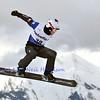 VEYSONNAZ, SWITZERLAND - JANUARY 22:  Finalist Luca Matteotti (ITA) jumping at the FIS World Championship Snowboard Cross finals : January 22, 2012 in Veysonnaz Switzerland