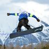 VEYSONNAZ, SWITZERLAND - JANUARY 22: Finalist Lucas Eguibar (SPA) jumping at the  FIS World Championship Snowboard Cross finals : January 22, 2012 in Veysonnaz Switzerland