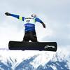 VEYSONNAZ, SWITZERLAND - JANUARY 22: Lucas Eguibar (SPA) jumping at the  FIS World Championship Snowboard Cross finals : January 22, 2012 in Veysonnaz Switzerland