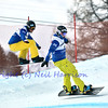 VEYSONNAZ, SWITZERLAND - JANUARY 22: l to r: Ruben Arnold (AUT) and Fabio Caduff (SUI) at the FIS World Championship Snowboard Cross finals : January 22, 2012 in Veysonnaz Switzerland