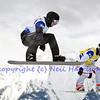 VEYSONNAZ, SWITZERLAND - JANUARY 22: le to r Jonathan Cheever (USA) and Mateusz Ligocki (POL) at the  FIS World Championship Snowboard Cross finals : January 22, 2012 in Veysonnaz Switzerland
