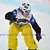 VEYSONNAZ, SWITZERLAND - JANUARY 21: Finalist Stian Siuvertzen (NOR) in the FIS World Championship Snowboard Cross finals : January 21, 2012 in Veysonnaz Switzerland