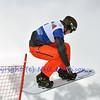 VEYSONNAZ, SWITZERLAND - JANUARY 21: Finalist Patrick Holland (USA) in the FIS World Championship Snowboard Cross finals : January 21, 2012 in Veysonnaz Switzerland
