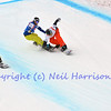 VEYSONNAZ, SWITZERLAND - JANUARY 19: Jodko (2) and silver medallist Holland (US) battle while Sivertzen overtakes in the FIS World Championship Snowboard Cross finals : January 19, 2012 in Veysonnaz Switzerland