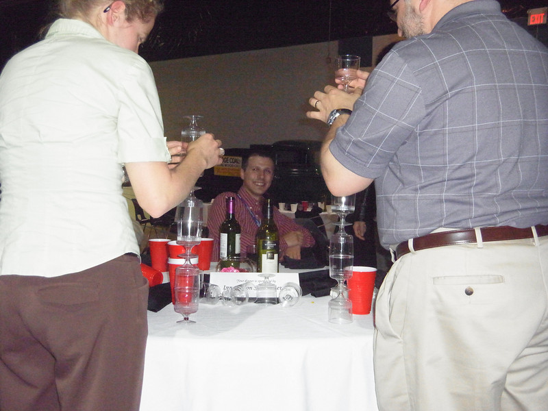 Graduate students perform engineering feats with empty glasses.