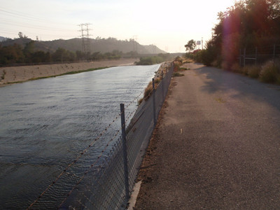 Looking West down the LA River Access Road.