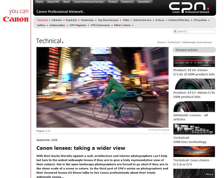 """Screen shot from the <a href=""""http://cpn.canon-europe.com/content/technical/wideangle_zoom_lenses.do"""">article about me</a> published by the Canon Professional Network (Europe) in September 2009."""