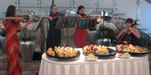 "The Solstice's all-female string quartet serenades cruisers at an ""elegant tea."""