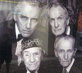 """... and """"The Kings of Horror"""":  top--Christopher Lee and Vincent Price; bottom--John Carradine and Peter Cushing. Mr. Wright was aboard and gave several talks."""