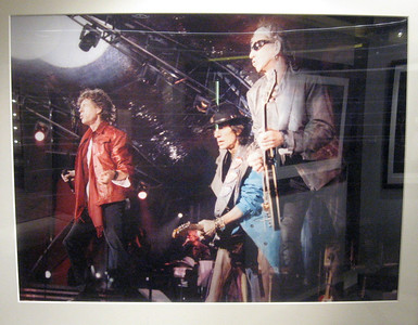 On board was a display of photographs by British photojournalist Ian Wright.  Mr. Wright's exhibit included this shot of The Rolling Stones in performance ...