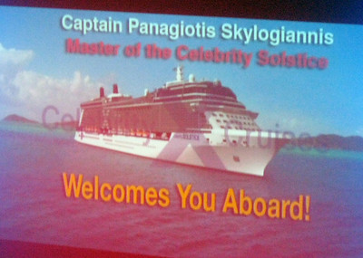On the evening of the first full day at sea, the Captain--the ship's master--offers a toast.
