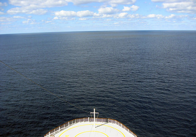 Looking out over the bow of the ship, the Caribbean stretches to the horizon.