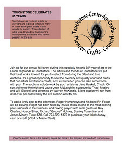 Online PDF catalog that I designed for Touchstone Center for Crafts in 2007 for the Jazzed About Art Gala.  Here I created document and photographed all artwork exhibited.   Online PDF catalog that I designed for Touchstone Center for Crafts in 2007 for the Jazzed About Art Gala.  Here I created document and photographed all artwork exhibited.