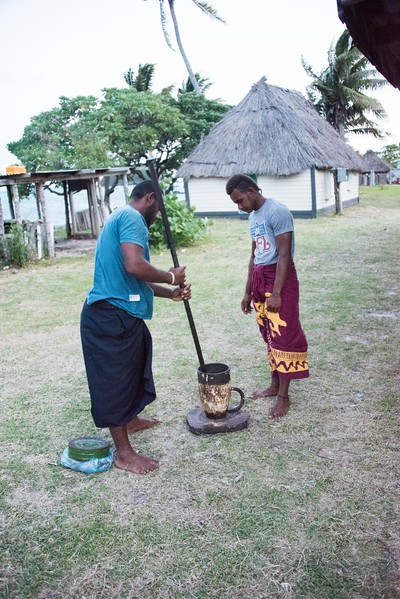 Grinding kava root