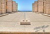 View Towards The Sea Across The Theodore Gildred court, Salk Institute, La Jolla, San Diego, California, USA
