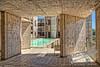 Pool of Theodore Gildred court, Salk Institute, La Jolla, San Diego, California, USA