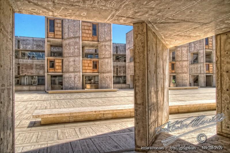 Looking Across The Theodore Gildred court, Salk Institute, La Jolla, San Diego, California, USA