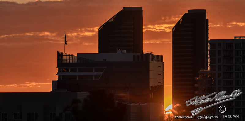 Sunset through the Twin Towers of San Diego.