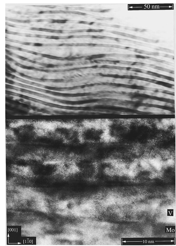 "FIG. 5. Cross-sectional TEM images of a superlattice with L=7.4 nm and XV=0.5. The upper and lower panels show overview and detailed lattice resolved images, respectively.<br /> <br /> ""This 3D morphology is frozen-in in the superlattices by capping the undulated V layers with Mo, which leads to a ''lasagne-like'' structure as seen in Fig. 5."" <br /> <br /> From: J. Birch et al. Physical Review B 35, 8114 (1996)"