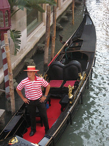 Ah Venice and its manly gondoliers!  I tried in vain to locate the sole female gondolier (recently licensed and reported on world-wide) --her male counterparts refused to acknowledge that she existed!