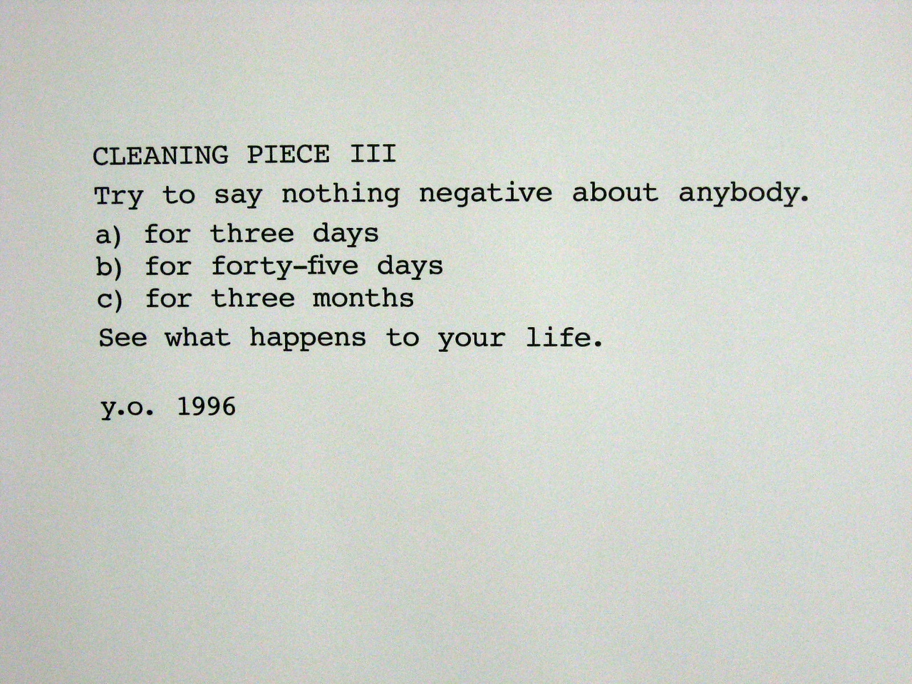 "Yoko Ono (Japan), ""Instructions pieces,"" 1960-2009"