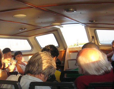 Aboard the vaporetto from Marco Polo Airport to San Marco Square in Venice--a 90-minute trip, but only about 13 Euro (as opposed to 95 Euro for a private water taxi--a speed boat).