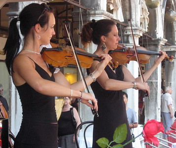 "Musicians of the ""Quadri Cafe"" in the Piazza."