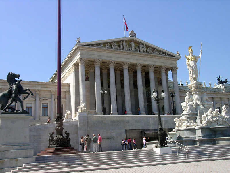 On the way to the Vienna Woods--the Austrian Parliament building