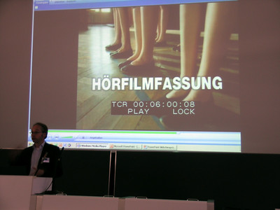 "My colleague, Bernd Benecke, head of description for Bayerischer Rundfunk, German TV - ""Horfilmfassung"" = described version (piracy prevention tool)"