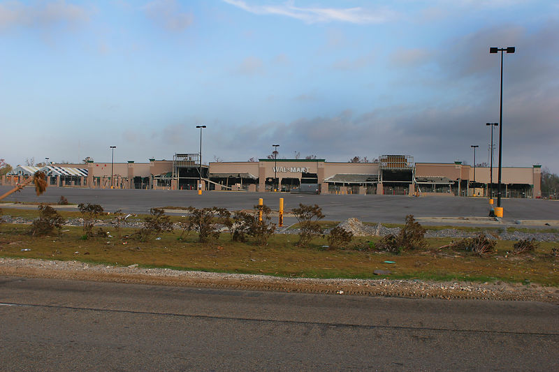 This picture is of a blown out Wal-Mart in the Gulfport, MS area.  Wal-Mart/K-Mart parking lots ended up being staging areas for a number of disaster relief centers in the impact area.