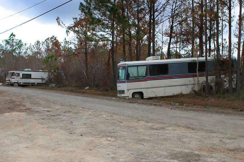 Katrina did not spare anything.  Even large RVs were floated and dropped into the woods in the Waveland, MS area.