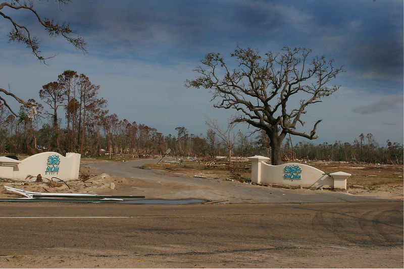 As you can see from this picture an entire subdivision was leveled by the storm.  Ground zero for Katrina was in Hancock County.  A 40 foot tidal surge reached 5-8 miles inland and hammered many of the watefront communities like this one with seawater.