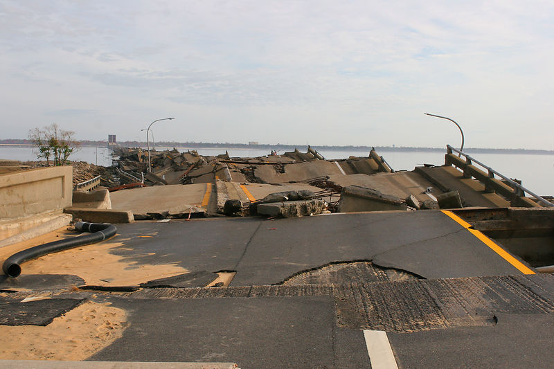 This shot is of what is left of the Rt. 90 bridge that crossed from Biloxi to Ocean Springs, MS.