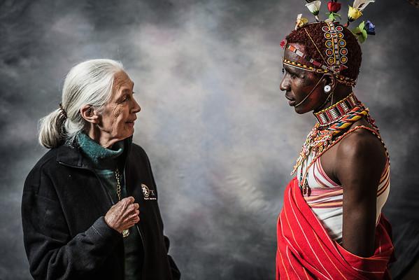 Dr. Jane Goodall and Jeneria Lekilelei