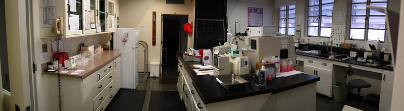 Panorama of the main lab at SDC. Specimen processing is at the left. Hematology is at the right.
