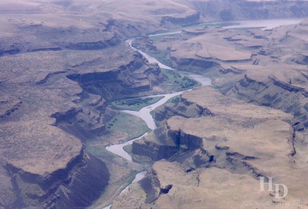 Ariel view of the Snake River, Eastern Washington.