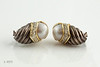 #0004 $725.00  David Yurman  1K + 925 Twotone Dia Pearl Earrings