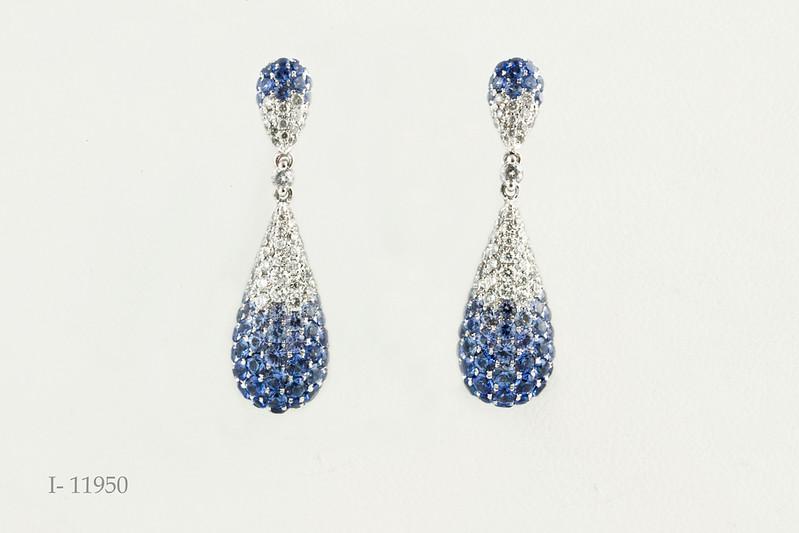 #0032 $5,285.00 14 KT White Gold Grad Blue Saph Earrings   Serg&Son