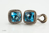 #0005  $850.00  Sterling Silver Yurman Dia&Blue Topaz earrings.