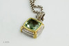 #0011  $425.00 18K+925 Two Tone Green Ameth. Pendant  D. Yurman