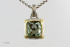 #0012  $425.00 18K+925 Two Tone Green Ameth. Pendant  D.