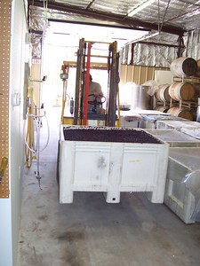 When the grapes are done fermenting they are carried to the press by forklift.