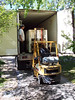 Unloading grapes with the forklift.