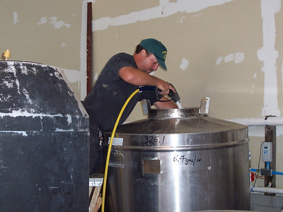This is what Chris really does most of the time at work... CLEAN TANKS. The pressure washer gets used all the time at the winery and is one of the most important pieces of equipment.