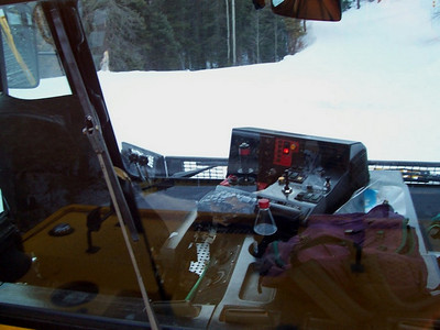 Driver's view from inside the Bombardier  snowcat.